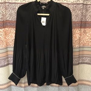 NWT Limited Collection Luxe Black Crinkle Blouse